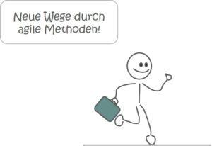 """Laufendes Strichmännchen """"Neue Wege durch agile Methoden"""""""
