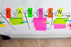 Kanban-Board von oben fotografiert